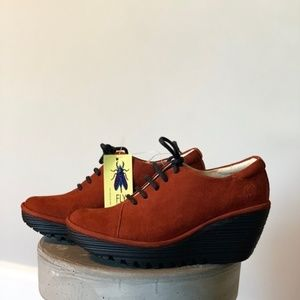 Fly London New Lace Up Brick Cupido Wedge Shoes